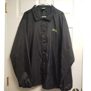 Men's Lifeted Reseach Group Lrg Green Logo Black Windbreak Jacket Size 2X Large
